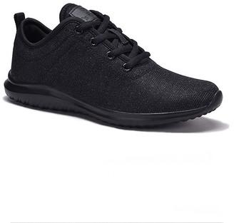 Dream Seek Women's Sneakers ALL - Black Shimmer Tie-Accent Sneaker - Women