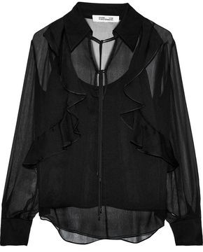 Diane von Furstenberg Everleigh Bow-detailed Ruffled Silk-georgette Blouse