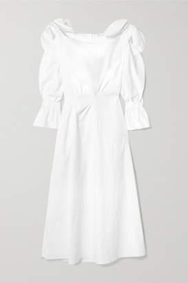REJINA PYO Michelle Bow-embellished Cotton-blend Midi Dress - Off-white
