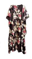 FIONALISSA Women with Gold/Red Floral Silky Satin Long Caftan/Dress. One Size Fit All.