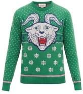 Gucci Tiger-jacquard Wool-blend Sweater - Mens - Green White