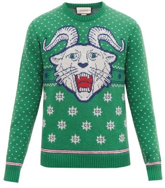 Gucci Tiger Jacquard Wool Blend Sweater - Mens - Green White