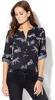 Soho Soft Shirt - Collarless - Leopard Print