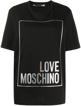 Love Moschino metallic logo print boxy T-shirt