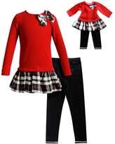 Dollie & Me Girls 4-14 Plaid Sweater Dress & Leggings Set