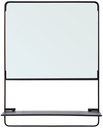 """CTG Metal Square Wall Mirror With Foldable Shelf, 16""""x12"""", Black"""