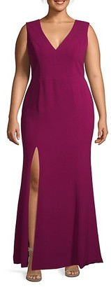 Dress the Population Plus Side Slit Stretch Gown