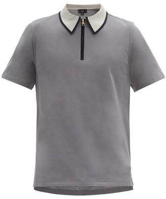 Dunhill Zip-collar Cotton-jersey Polo Shirt - Grey