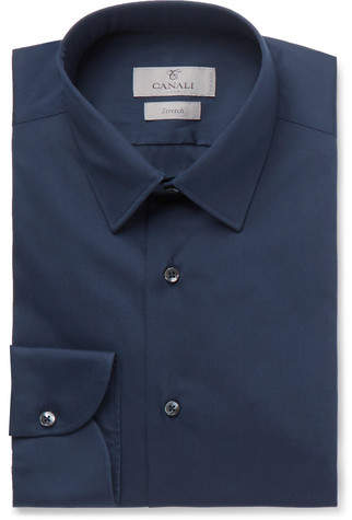 Canali Navy Slim-Fit Stretch Cotton-Blend Shirt