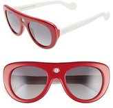 Moncler Women's 51Mm Polarized Two-Tone Geometric Sunglasses - Red/ Ivory/ Smoke Polar