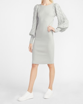 Express Cable Balloon Sleeve Sweater Dress