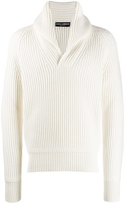 Dolce & Gabbana Cashmere Shawl Lapel Ribbed Jumper