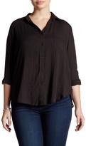 Lush Woven Long Sleeve Button Front Blouse (Plus Size)