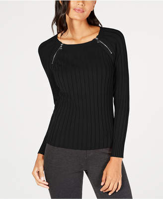 INC International Concepts Inc Zipper-Detail Raglan Sleeve Sweater