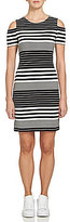 1 STATE Short Sleeve Cold-Shoulder Stripe Sheath Dress