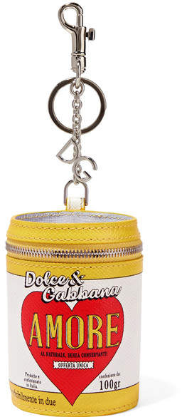 Dolce & Gabbana Printed Textured-leather Keychain - Yellow