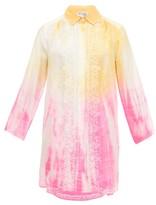 Juliet Dunn Oversized Embroidered Tie-dye Silk Shirt - Womens - Yellow Multi