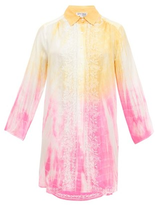 Juliet Dunn Oversized Embroidered Tie-dye Silk Shirt - Yellow Multi