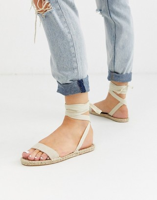 ASOS DESIGN Juniper espadrille flat sandals in natural