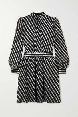 MICHAEL Michael Kors Metallic Striped Silk-blend Dress - Black