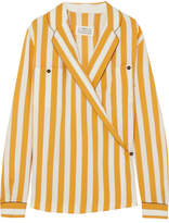 Maison Margiela Striped Crepe Wrap Blouse - Yellow