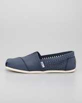 Toms Perforated Leather Slip-On, Navy