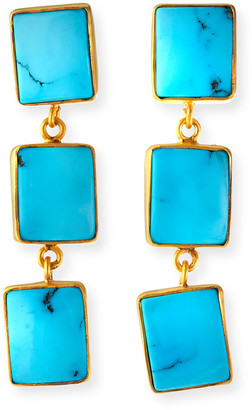 Dina Mackney Sleeping Beauty Turquoise Triple-Drop Earrings