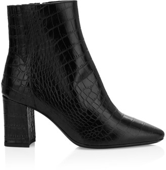 Aquatalia Posey Croc-Embossed Leather Ankle Boots