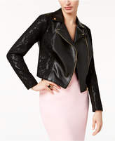 Thalia Sodi Faux-Leather Lace Moto Jacket, Created for Macy's