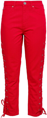 Sandro Lace-up Cropped Skinny Jeans