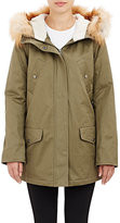 Barneys New York WOMEN'S FUR-TRIMMED HOODED ANORAK-DARK GREEN SIZE S