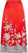 Gucci Embroidered Wrap-effect Silk-satin Skirt - Crimson