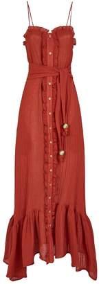 Lisa Marie Fernandez Button-Down Ruffle Slip Dress