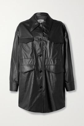 MM6 MAISON MARGIELA Oversized Faux Leather Jacket - Black