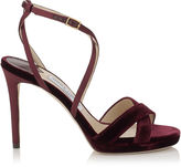 Jimmy Choo LOLA 100 Bordeaux Velvet and Satin Platform Sandals