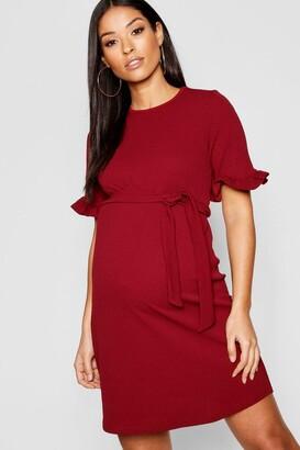 boohoo Maternity Ruffle Tie Waist Smock Dress