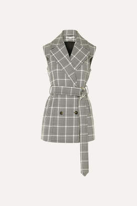 Stella McCartney Belted Prince Of Wales Checked Wool Vest - Gray