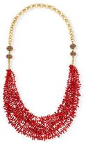 Devon Leigh Long Multi-Strand Coral Necklace, Red