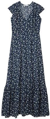 American Rose Cora Faux Wrap Printed Maxi Dress (Navy/White) Women's Clothing