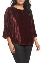 Foxcroft Plus Size Women's Korin Crinkled Velvet Top