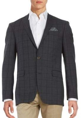 Tallia Tonal Plaid Wool Suit Jacket