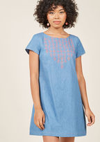 Hello, sunny day! This chambray mini dress from our ModCloth namesake label is exactly what a bright afternoon calls for. Touting a triple-buttoned keyhole, coral florals embroidered into the yoke, and secret pockets, this short-sleeved shift shares your