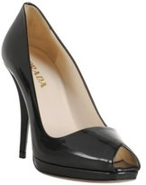black patent leather square peep toe pumps