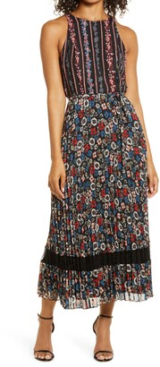 Julia Jordan Floral Stripe Pleated Maxi Dress