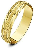 Theia 9ct Yellow Gold Heavy Weight - Serrated Matt Centre and Diagonal Design Edge D-Shape 5mm Wedding Ring - Size M
