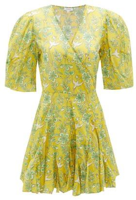 Rhode Resort Rosie Puff-sleeve Floral-print Cotton Mini Dress - Yellow Print