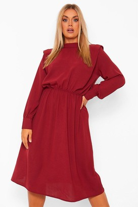 boohoo Plus Shoulder Pad High Neck Midi Dress