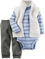 Carter's Baby Boys' 3-Pc. Quilted Vest, Striped Bodysuit & Pants Set