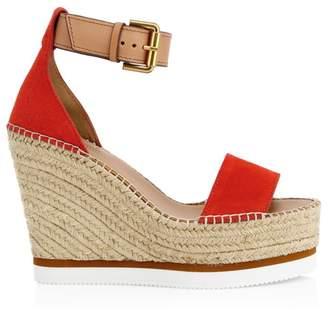 See by Chloe Glyn Leather Espadrille Platform Wedge Sandals