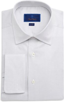 David Donahue Dot Trim Fit Dress Shirt